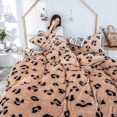 2018新款爆款牛奶绒四件套 1.8m(6英尺)床 豹纹 黄