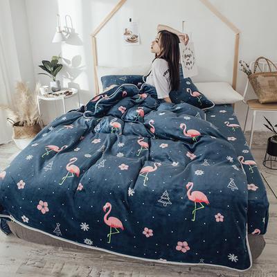 2018新款爆款牛奶绒四件套 1.8m(6英尺)床 圣诞火鸟 蓝