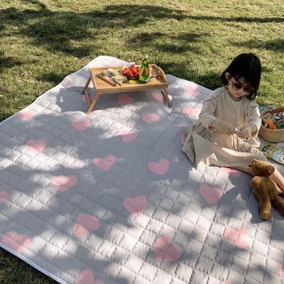 2019新款野餐垫 140×200cm 灰底粉心