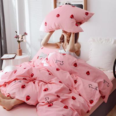 2019新款全棉四件套-影棚图 1.2m三件套 粉草莓