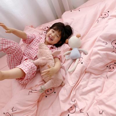 2019新款全棉四件套-小模特图 1.2m三件套 粉色猪猪