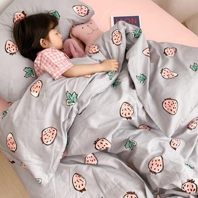 2019新款全棉四件套-小模特图 1.2m三件套 灰草莓