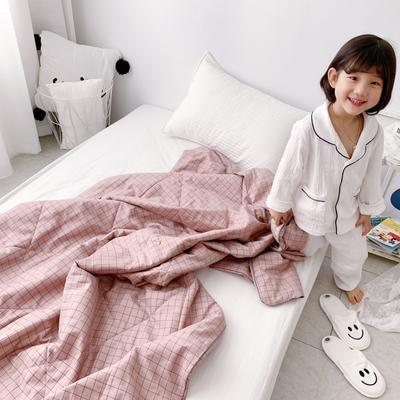 2019新款纯棉夏被-小模特图 150x200cm 粉格子