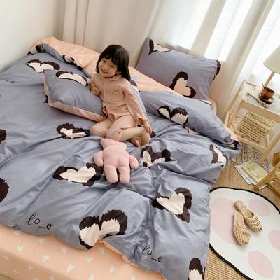2019新款13070全棉四件套 1.2m床单款三件套 爱心豹纹 粉蓝