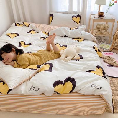 2019新款13070全棉四件套 1.2m床单款三件套 爱心豹纹 黄