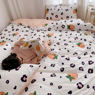 2019新款13070全棉四件套 1.2m床单款三件套 豹纹草莓 白