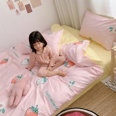 2019新款13070全棉四件套 1.2m床单款三件套 粉草莓
