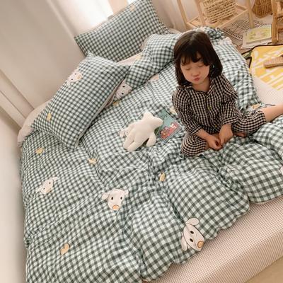 2019新款13070全棉四件套 1.2m床单款三件套 格子爱宠
