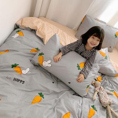 2019新款13070全棉四件套 1.2m床单款三件套 兔兔萝卜