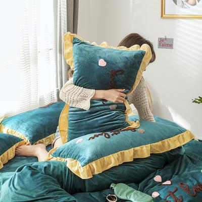 2019新款COCO宝宝绒毛巾绣四件套 1.8m床单款 床单款甜心coco 深墨绿