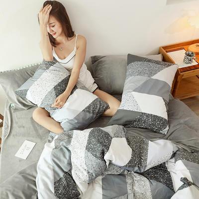 2019新款13372全棉水晶绒四件套 1.2m床单款三件套 水磨石