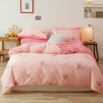2019新款13372全棉水晶绒四件套 1.2m床单款三件套 粉猪猪