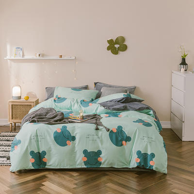 2019新款13372全棉水晶绒四件套 1.2m床单款三件套 快乐的小青蛙