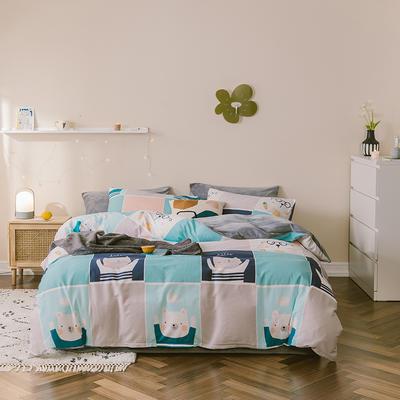 2019新款13372全棉水晶绒四件套 1.2m床单款三件套 熊熊兔兔
