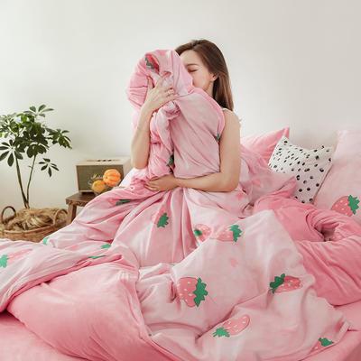 2019新款13372全棉水晶绒四件套 1.8m床单款四件套 大理石纹草莓
