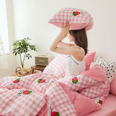 2019新款13372全棉水晶绒四件套 1.2m床单款三件套 格子草莓