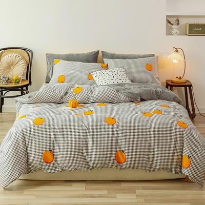 2019新款13372全棉水晶绒四件套 1.8m床单款四件套 格子橙