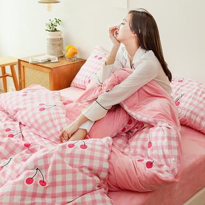 2019新款13372全棉水晶绒四件套 1.2m床单款三件套 格子樱桃