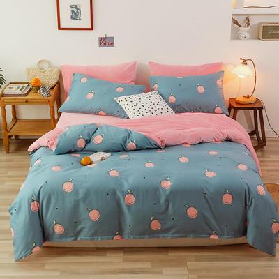 2019新款13372全棉水晶绒四件套 1.8m床单款四件套 桔子粉蓝
