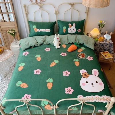 2019新款设计师款韩国宝宝绒大版四件套 1.2m床单款 花朵萝卜兔