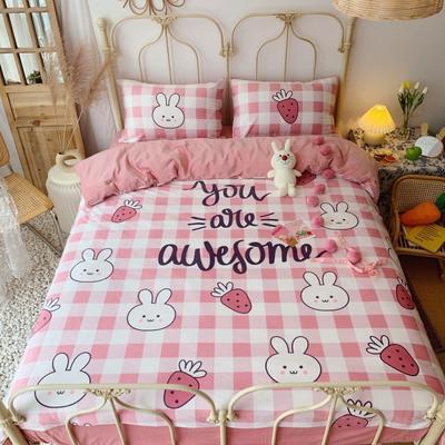 2019新款设计师款韩国宝宝绒大版四件套 1.5m床单款 兔子草莓