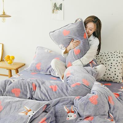2019新款牛奶绒四件套-影棚图 1.5m床单款 爱心兔