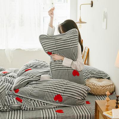 2019新款牛奶绒四件套-影棚图 1.5m床单款 格子爱心
