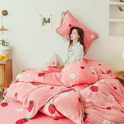 2019新款牛奶绒四件套-影棚图 1.5m床单款 花朵草莓
