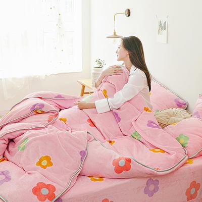 2019新款牛奶绒四件套-影棚图 1.5m床单款 花儿朵朵