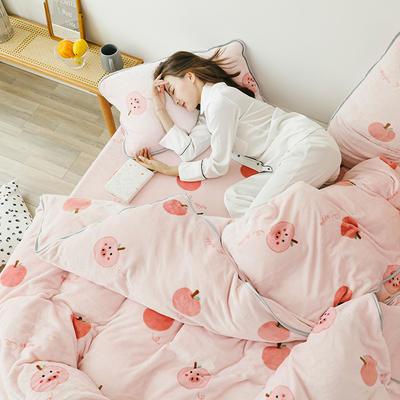 2019新款牛奶绒四件套-影棚图 1.5m床单款 苹果猪猪