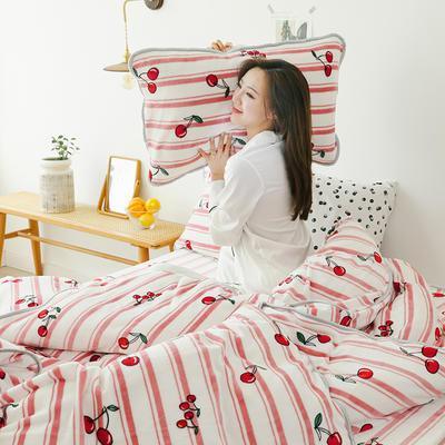2019新款牛奶绒四件套-影棚图 1.5m床单款 条纹樱桃