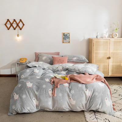 2019新款牛奶绒四件套-影棚图 1.8m床单款 雪花羊驼