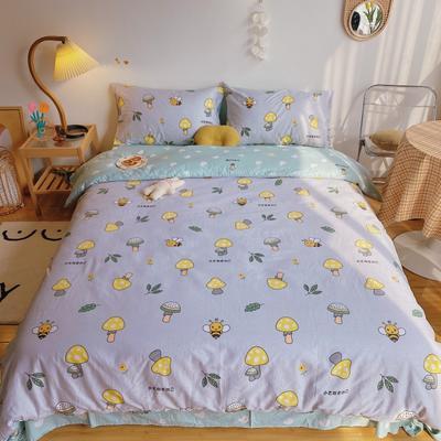 2020新款13070全棉跑量款四件套 1.2m床單款三件套 蜜蜂蘑菇