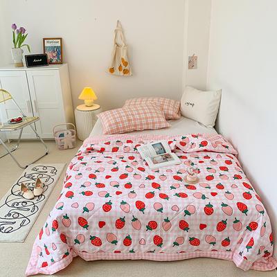 2020新款韓國小碎花蕾絲系列夏被 150x200cm單夏被 心動草莓