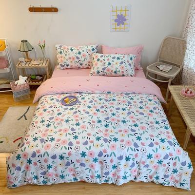 2020新款学生季全棉四件套 1.2m床单款三件套 粉紫小花