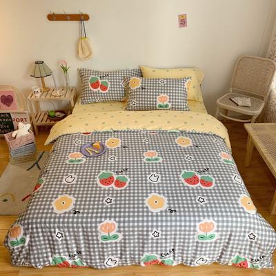 2020新款学生季全棉四件套 1.2m床单款三件套 格子草莓花