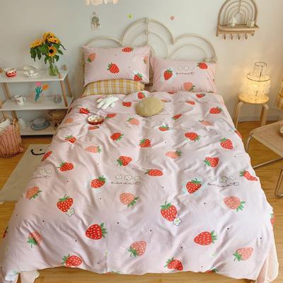 2020新款学生季全棉四件套 1.2m床单款三件套 奶油草莓
