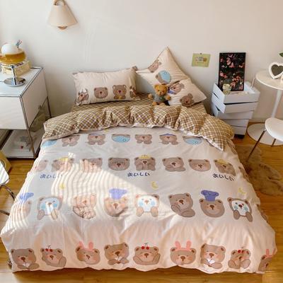2021新款全棉13372小熊仔系列四件套 1.5m床单款四件套 口罩小熊