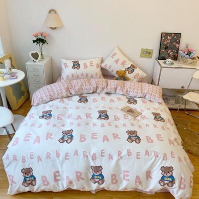 2021新款全棉13372小熊仔系列四件套 1.5m床单款四件套 字母熊 粉