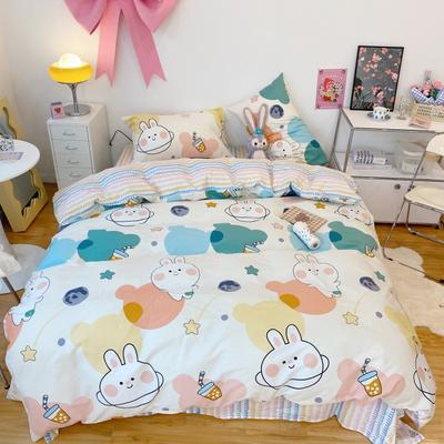 2021新款卡通系列四件套 1.5m床单款四件套 奶茶兔