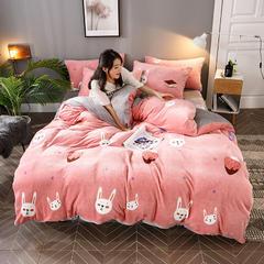 2018新款法莱绒四件套 1.2m(4英尺)床三件套 欢乐兔