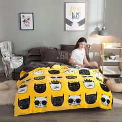 2018新款法莱绒四件套 1.2m(4英尺)床三件套 猫先生