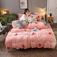 2018新款法莱绒四件套 1.2m(4英尺)床三件套 草莓派