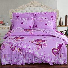 2018新品夹棉床裙系列四件套 1.2m(4英尺)床 爱的告白-雪