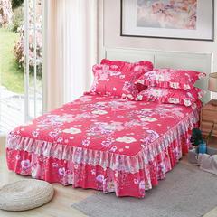 2018新款韩版蕾丝单品床裙 枕套一对 百花争艳