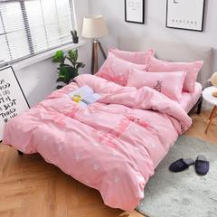2018新款加厚磨毛床单四件套 1.2m(4英尺)床三件套 嗨皮豹