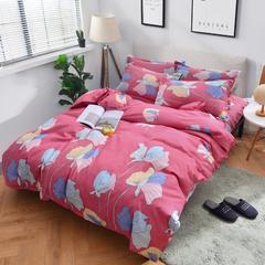 2018新款加厚磨毛床单四件套 1.2m(4英尺)床三件套 雪莉尔-红