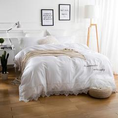 60S长绒棉绣花系列四件套 抱枕45*45含芯/个 艾菲-白