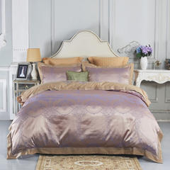 天丝提花床盖四件套 标准1.5m-1.8m床 北欧曼舞炫紫