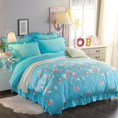爆款 AB版韩版法莱绒床裙四件套加厚保暖套件 快乐小熊 1.2m(4英尺)床 花意满枝